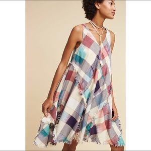 Anthropologie Maeve metallic plaid tunic dress
